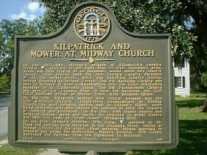 Kilpatrick and Mower at Midway Church Historical Marker2